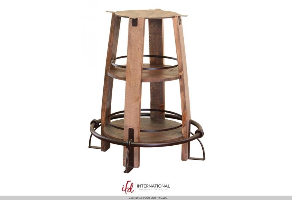 INTERNATIONAL FURNITURE DIRECT Bistro Table Base Barrel Shaped With Shelves    W/footrest