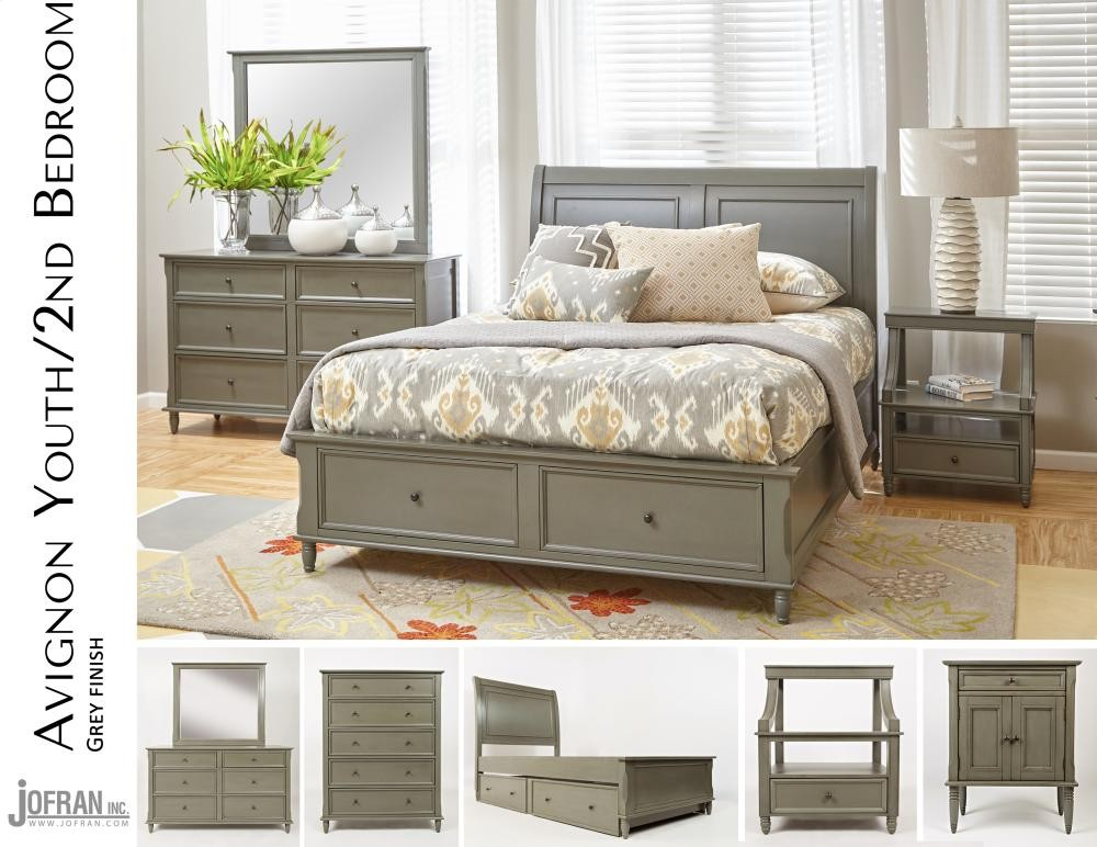 Avignon Grey Twin Trundle Bed Complete Beds Pruitt's Fine Furniture Simple Avignon Bedroom Furniture