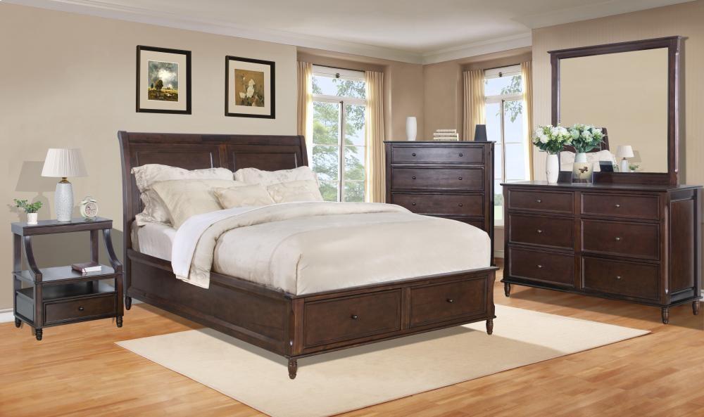 Avignon Birch Cherry Twin Storage Bed Complete Beds Pruitt's Mesmerizing Avignon Bedroom Furniture