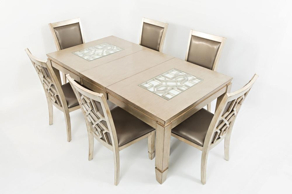 Casa Bella Rectangle Dining Table Wextension Leaf Vintage Silver - Oblong dining table with leaf