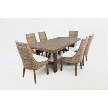 Hampton Road Trestle Dining Table With Four Transitional Rattan Chairs