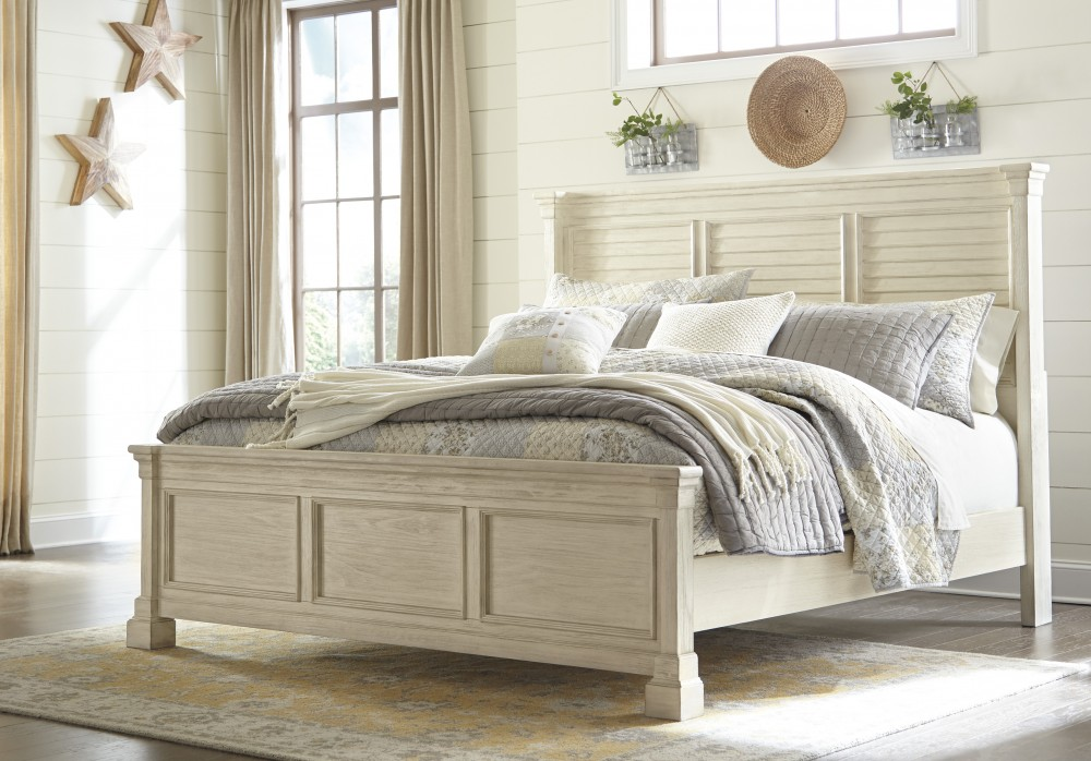Bolanburg King Panel Bed with Louvered Headboard