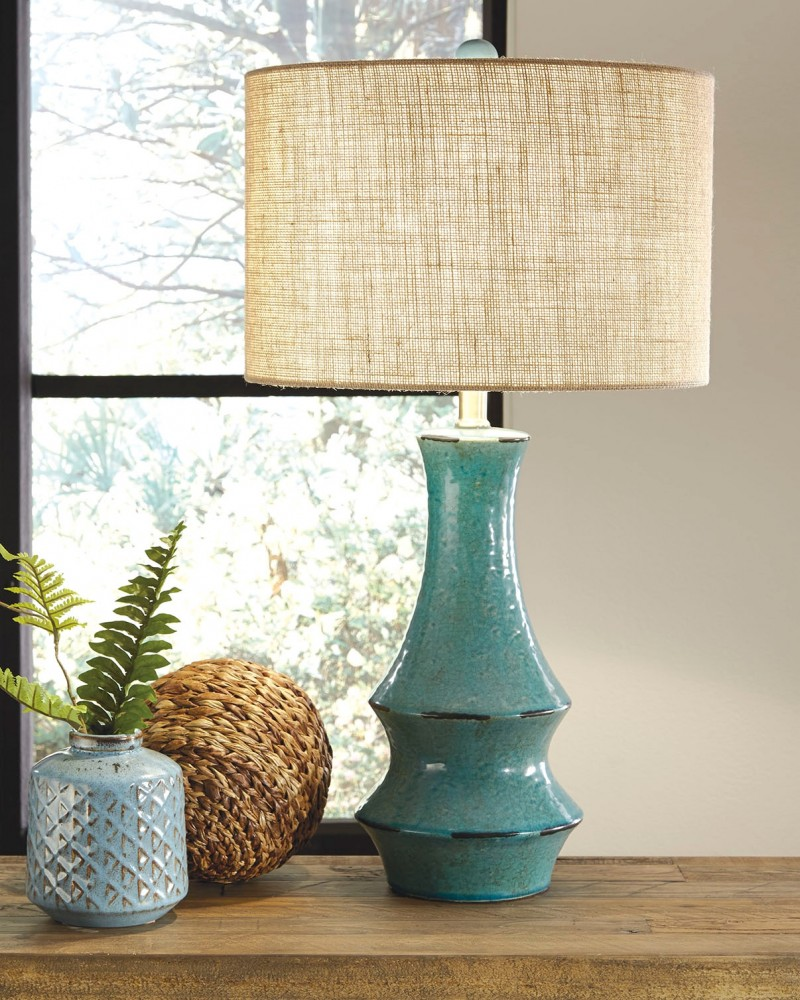 Jenci Antique Teal Ceramic Table Lamp 1 Cn L100584 Lamps