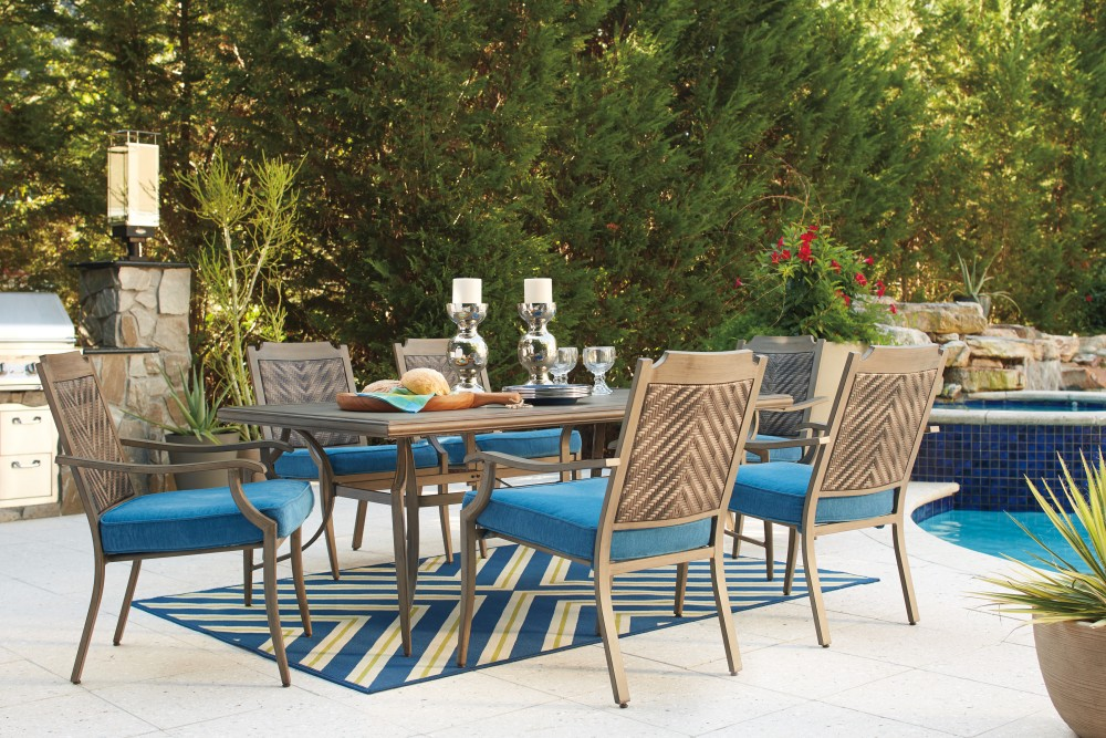 Partanna   Blue/Beige   RECT Dining Table W/UMB OPT