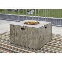Peachstone - Beige/Brown - Square Fire Pit Table