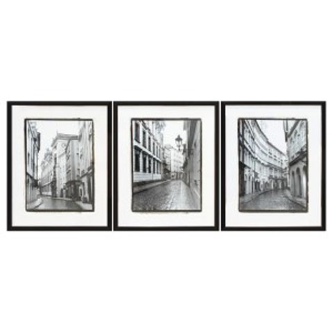 Dorcas black white wall art set 3 cn