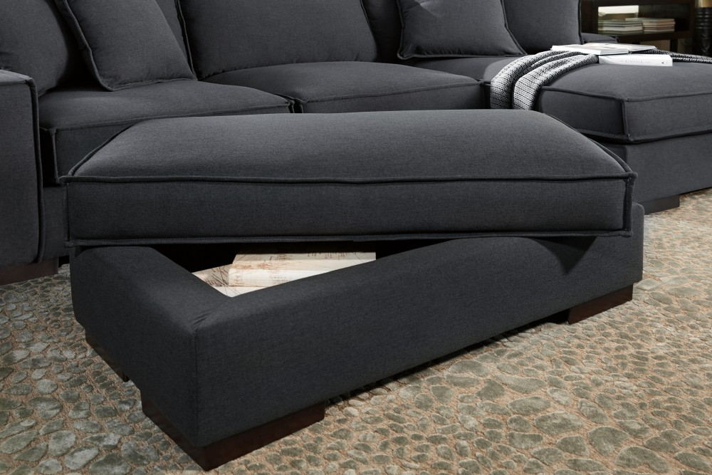 Gamaliel - Charcoal - Ottoman With Storage