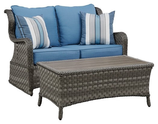 Abbots Court - Blue/Gray - Loveseat Glider w/Table (2/CN)