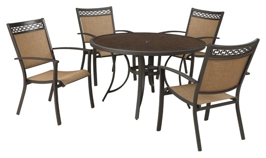 Carmadelia - Tan/Brown - Sling Chair (4/CN) - Carmadelia - Tan/Brown - Sling Chair (4/CN) P376-601A Outdoor