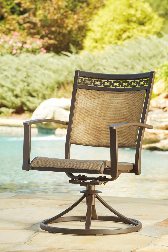 Carmadelia - Tan/Brown - Sling Swivel Chair (2/CN)
