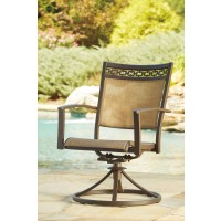 Carmadelia - Tan/Brown - Sling Swivel Chair (2/CN)