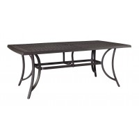 Burnella - Brown - RECT Dining Table w/UMB OPT