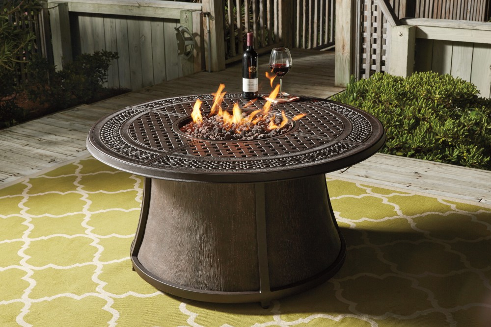 round fire pit table Burnella   Brown   Round Fire Pit Table Base | P456 776B | Fire  round fire pit table