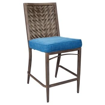 Partanna - Blue/Beige - Barstool with Cushion (4/CN)