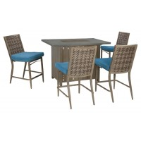 Partanna - Blue/Beige - Barstool with Cushion (4/CN)