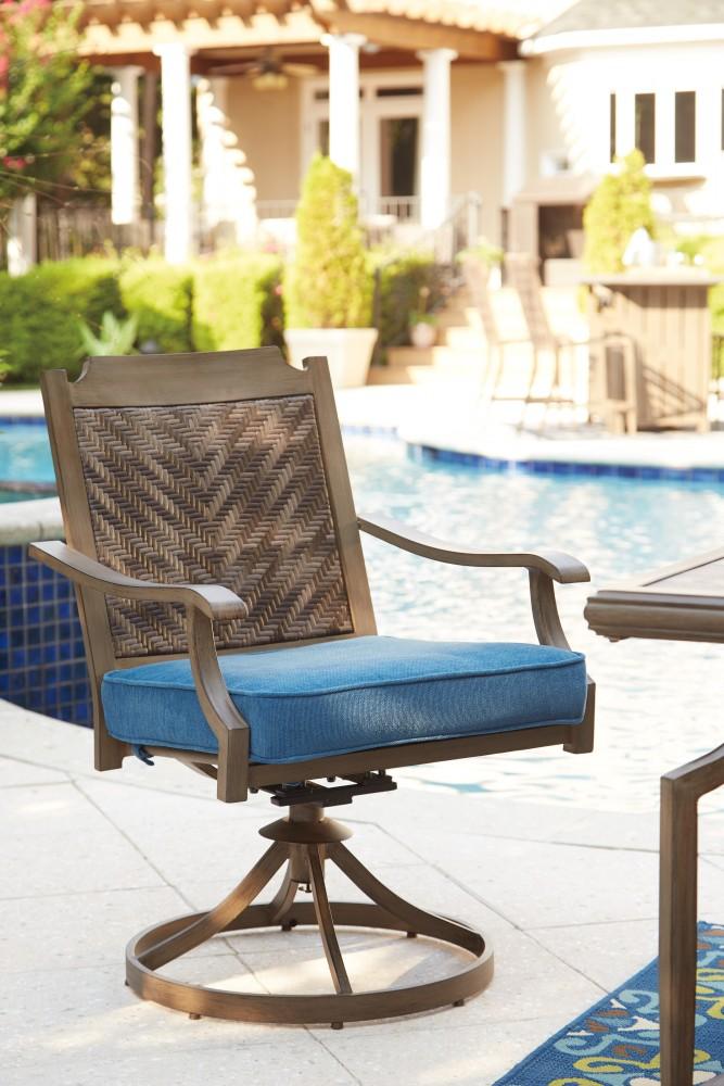 Partanna   Blue/Beige   Swivel Chair W/Cushion (2/CN)