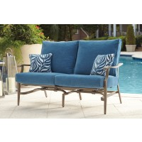 Partanna - Blue/Beige - Motion Loveseat (2/CN)
