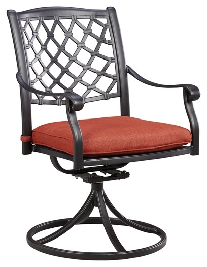 Tanglevale - Burnt Orange - Swivel Chair w/Cushion (2/CN)