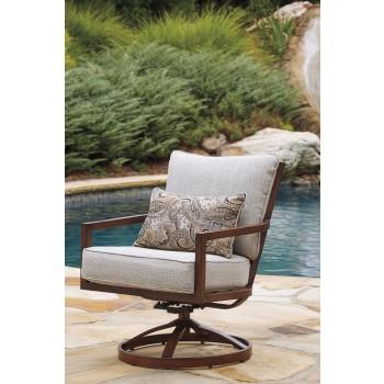 Zoranne - Beige/Brown - Swivel Lounge Chair (2/CN)