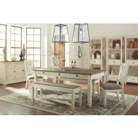 Bolanburg RECT Dining Table, 2 UPH Side Chairs & 2 UPH Benches