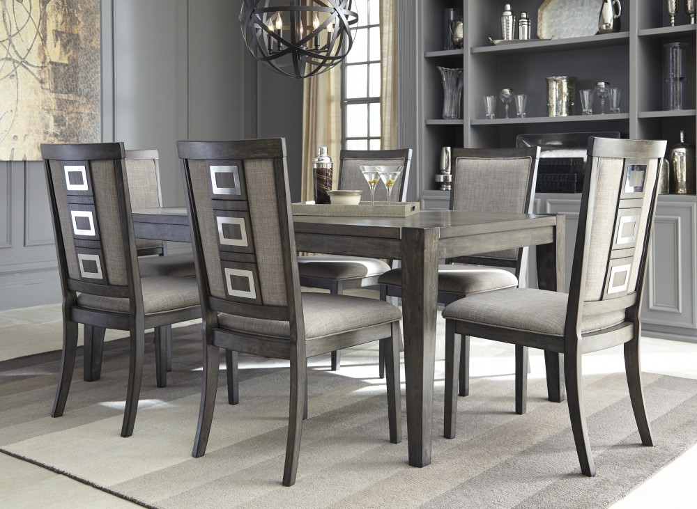 Awesome Chadoni RECT Dining Table U0026 6 UPH Side Chairs
