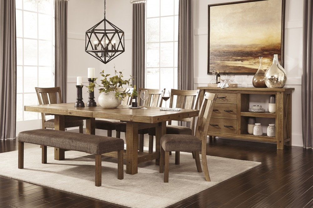 Tamilo Gray Brown Rect Dining Room Ext Table 5 Uph Side Chairs Uph Bench