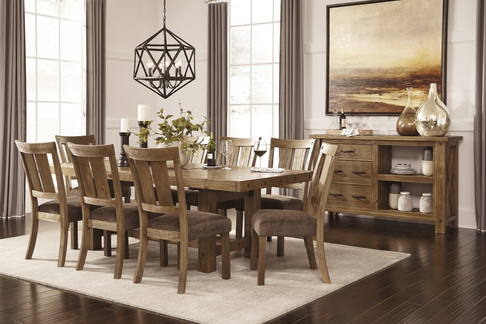 Tamilo - Gray/Brown - RECT Dining Room EXT Table & 8 UPH Side Chairs