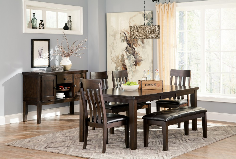 Haddigan RECT Dining Room EXT Table, 4 UPH Side Chairs U0026 Large UPH Bench