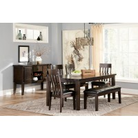 Haddigan RECT Dining Room EXT Table, 4 UPH Side Chairs & Large UPH Bench