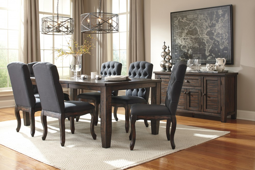 Trudell Golden Brown Rect Dining Room Ext Table 6 Uph Side