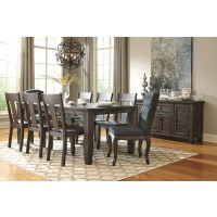 Trudell - Golden Brown - RECT Dining Room EXT Table, 6 Side Chairs & 2 UPH Side Chairs
