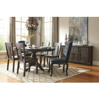 Trudell - Golden Brown - Round Dining Room Table, 4 Side Chairs & 2 UPH Side Chairs