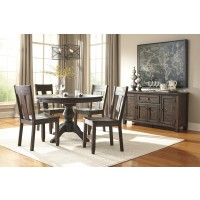Trudell - Golden Brown - Round Dining Room Table & 4 Side Chairs