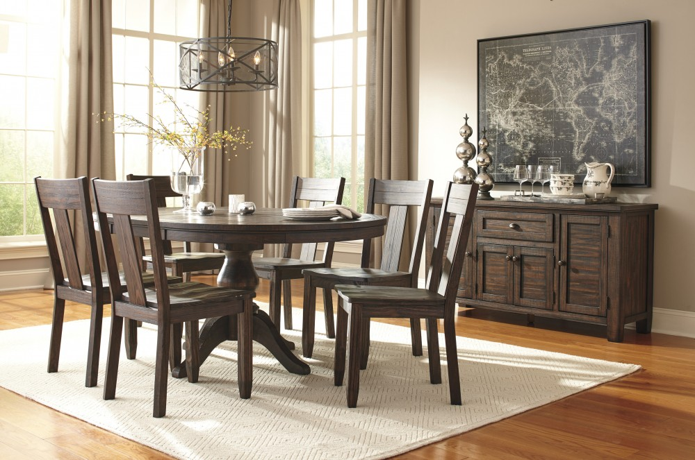 Trudell - Golden Brown - Round Dining Room Table & 6 Side Chairs