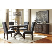 Trudell - Golden Brown - Round Dining Room Table & 4 UPH Side Chairs