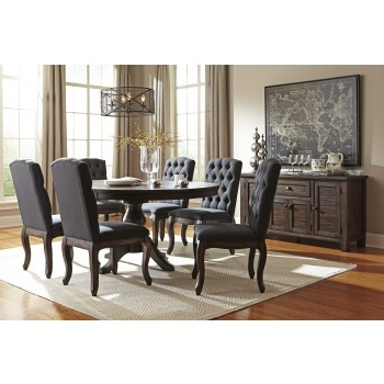 Trudell - Golden Brown - Round Dining Room Table & 6 UPH Side Chairs