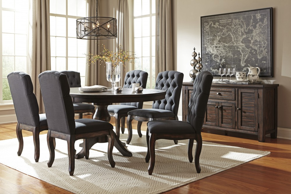 Trudell - Golden Brown - Round Dining Room Table & 6 UPH Side Chairs ...