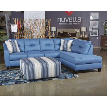 Kirwin Nuvella   Blue   LAF Queen Sofa Sleeper | Sectional Pieces | Du0026L  Furniture