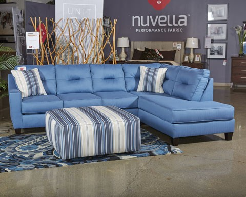Kirwin Nuvella Blue LAF Queen Sofa Sleeper Sectional Pieces