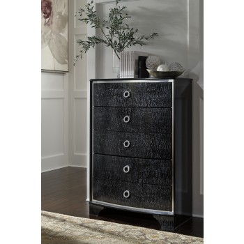 Amrothi - Black - Five Drawer Chest