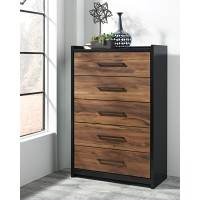 Stavani - Black/Brown - Five Drawer Chest