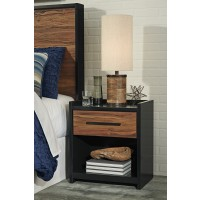 Stavani - Black/Brown - One Drawer Night Stand