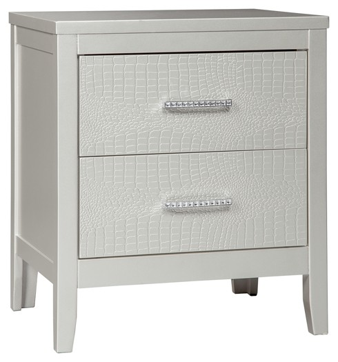 Olivet - Silver - Two Drawer Night Stand