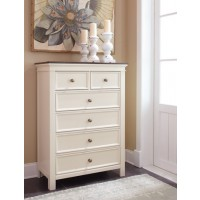 Woodanville - White/Brown - Six Drawer Chest