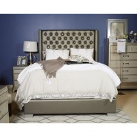 Coralayne - Silver - Cal King UPH Footboard/Rails