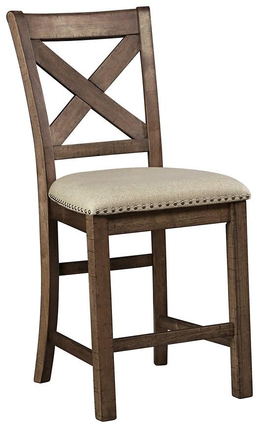 Moriville Grayish Brown Upholstered Barstool 2 Cn