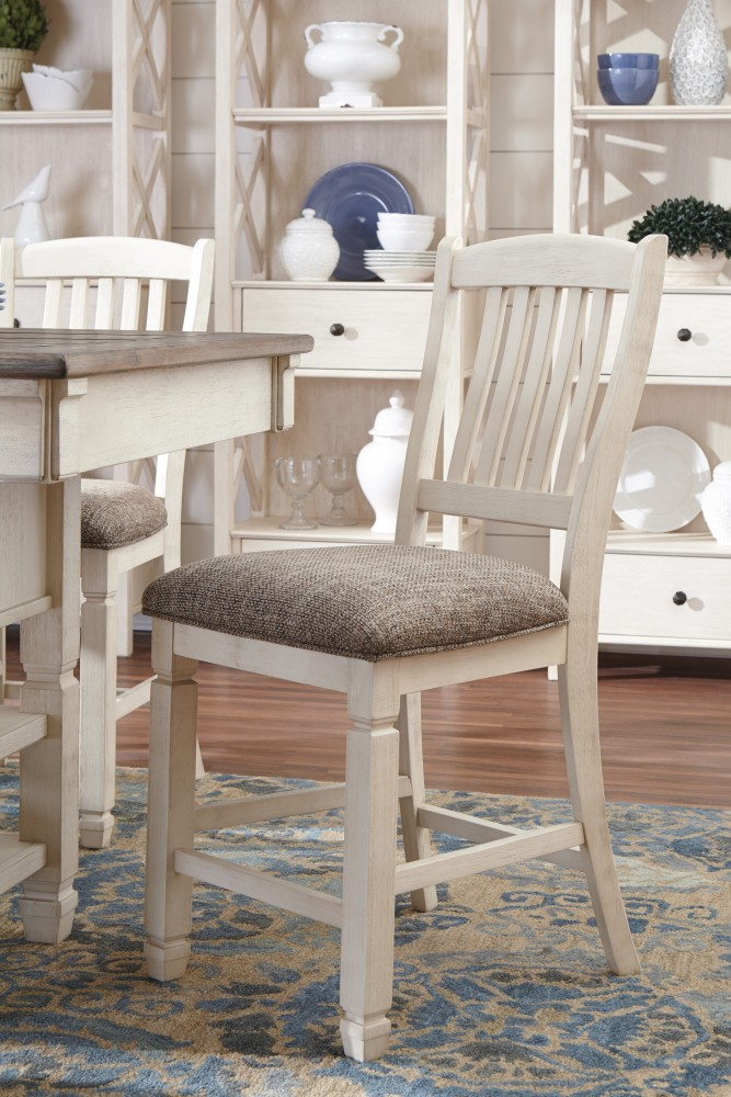 Bolanburg - Antique White - Upholstered Barstool (2/CN)