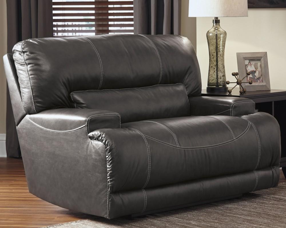 Mccaskill Gray Wide Seat Recliner U6090052 Leather