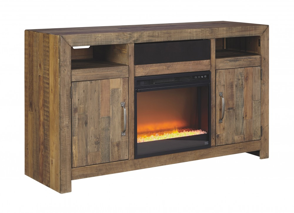 Sommerford brown lg tv stand w fireplace option w775 for Fireplace options