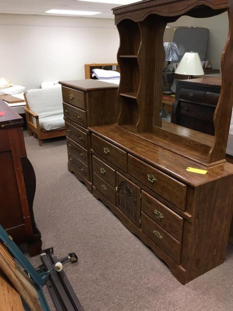 Dresser, Mirror and Chest